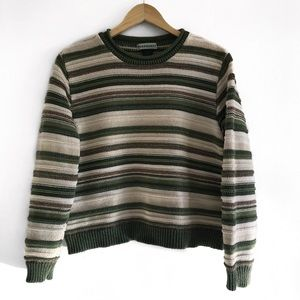 cropped striped cotton sweater